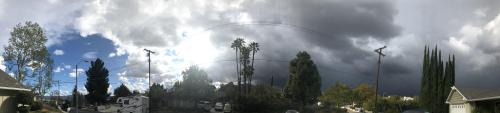 Panoramic view of thunderstorm clouds
